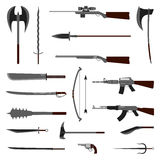 18 weapon icon. Medieval and modern. Flat vector Illustration. 18 weapon icon. Medieval and modern. Flat vector Illustration Stock Photography