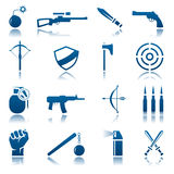 Weapon icon set. Set of blue weapon icons Stock Photography