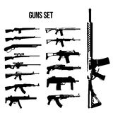 Weapon icon set, machine guns and rifles  illustration of black and white. Stock Photos
