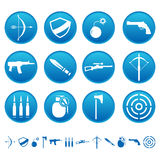 Weapon icons. On round buttons Royalty Free Stock Images
