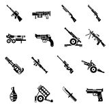 Weapon Icons Black. Set with bazooka ak47 gun rifle isolated vector illustration Royalty Free Stock Photo
