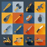 Weapon Icons Flat. Set  with axe dagger tank  cannon isolated vector illustration Royalty Free Stock Image