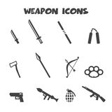 Weapon icons. Mono vector symbols Royalty Free Stock Images