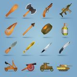 Weapon icons set. With gun shotgun grenade tank stun isolated vector illustration Stock Photography