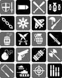 Weapon icons. A variety of weapon, gun, war and warfare themed icons Stock Image