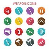 Weapon long shadow icons. Flat vector symbols Royalty Free Stock Image