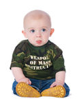 Weapon of mass destruction. Small boy wearing a weapon of mass destruction t-shirt Royalty Free Stock Photography