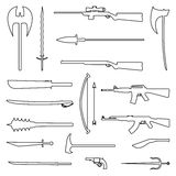 18 weapon outline icon. Medieval and modern. Flat vector Illustration. 18 weapon outline icon. Medieval and modern. Flat vector Illustration Stock Images