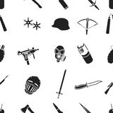 Weapon pattern icons in black style. Big collection of weapon vector symbol stock illustration Stock Images