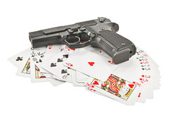 The weapon on playing cards. Isolated on white background Royalty Free Stock Photo