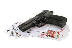 The weapon on playing cards. Isolated on white background Stock Photography