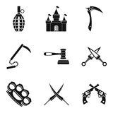 Weapon proficiency icons set, simple style. Weapon proficiency icons set. Simple set of 9 weapon proficiency vector icons for web isolated on white background Stock Photo