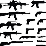 Weapon. Rifle pistol and knife silhouette vector Stock Images