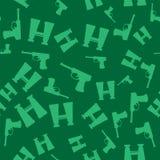 Weapon Seamless Pattern. Pistols and Binoculars Stock Photo