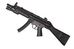 Weapon series. Modern submachine gun, side view. Stock Photos