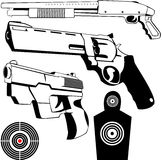 Weapon set 1. Vector drawings of some fire weapons and targets Stock Photo