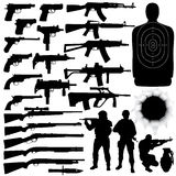 Weapon Set. Vector silhouettes of various weapons (High detail Royalty Free Stock Image