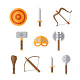 Weapon Set. Set of golden, wood and steel fantasy medieval weapon icons in flat style Stock Images