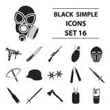 Weapon set icons in black style. Big collection of weapon vector symbol stock illustration Stock Photos
