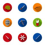 Weapon set icons in flat style. Big collection of weapon symbol Royalty Free Stock Photos