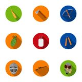 Weapon set icons in flat style. Big collection of weapon vector symbol stock illustration Royalty Free Stock Photography