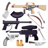 Weapon Set Vector. Weapons Icons. Pistol, Shotgun, Knife, Bow. Cartoon Isolated Illustration. Weapon Set Vector. Weapons Icons. Pistol, Shotgun, Knife Bow Stock Images