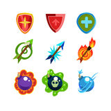 Weapon and Shield Icons Set for Games. Set for game resources, weapon and Shields icons collection vector illustration Stock Images
