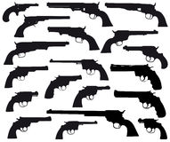 Weapon silhouett collection, revolvers. Silhouett of revolvers on white (antique and modern Stock Photo