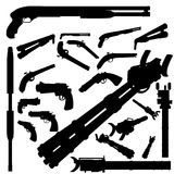Weapon silhouette set Stock Photo