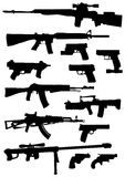 Weapon silhouettes. Vector collection of weapon silhouettes illustration Stock Photo