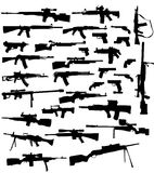 Weapon silhouettes. Vector collection of weapon silhouettes  illustration wallpaper Royalty Free Stock Photos