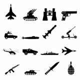 16 weapon simple icons set Stock Image