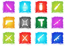Weapon simply icons. In grunge style for your design Royalty Free Stock Photography
