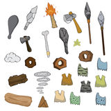 Weapon of stone age cartoon. Illustration Royalty Free Stock Photos