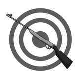 Weapon and target. Shooting gallery in an amusement park.Amusement park single icon in monochrome style vector symbol. Stock web illustration Stock Photo