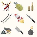 Weapon vector icon set Royalty Free Stock Photo