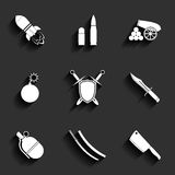 Weapon vector icon set Stock Photo