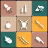 Weapon vector icon set Stock Photos