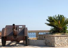 Weapon of war between sky and sea in Sicily Stock Images