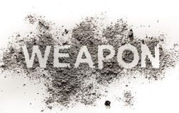 Weapon word made in ash, dust, dirt, filth as a dangerous death, Royalty Free Stock Photo