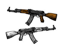 Weaponry, armament symbol. Automatic machine AK 47. Kalashnikov assault rifle, sketch. Vector illustration Royalty Free Stock Photography