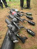 Weapons. Five guns for paintball game stock images