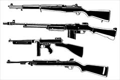 Weapons. Several guns, old, in the Stock Image