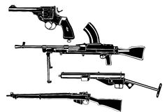 Weapons. Several guns, old, in the Stock Photos
