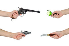 Weapons. Different weapons to protect themselves Stock Images