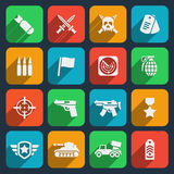 Weapons and ammunition icons Stock Photos