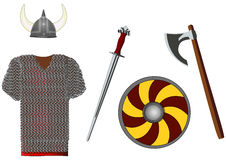 Weapons and armors set of viking, vector. Weapons and armors set of viking,  on white, vector illustration Stock Photography