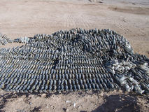 Weapons cache found in  the Helmand Province Afghanistan. One of the largest weapons caches ever found in Afghanistan Royalty Free Stock Image