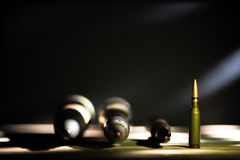 Weapons, cartridge on wooden background. Place for text Royalty Free Stock Photos