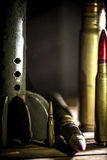 Weapons, cartridge on wooden background. Place for text Royalty Free Stock Images